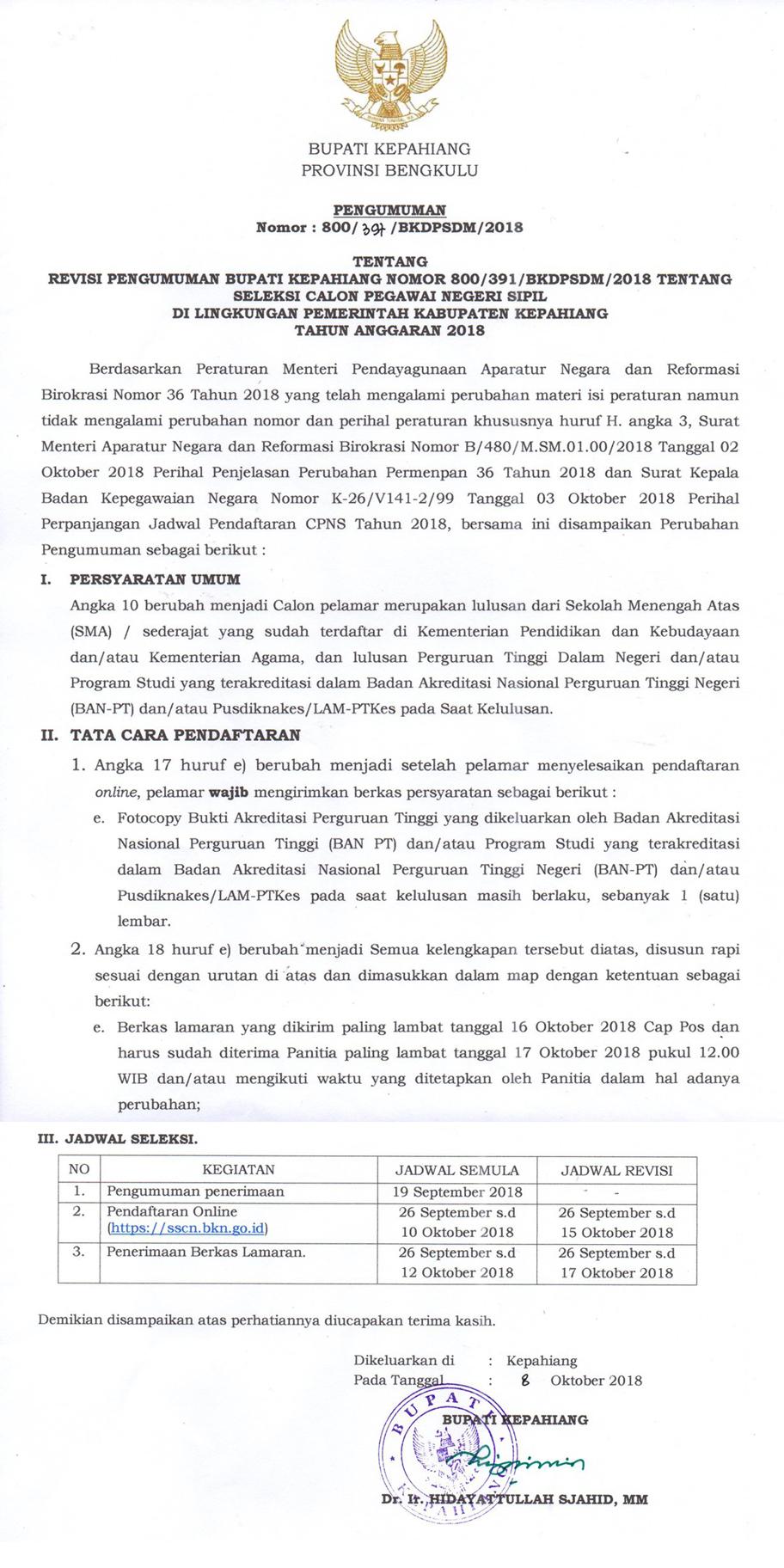 Revisi pengumuman CPNS 2018